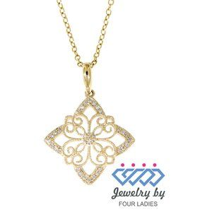 Natural Diamond Fine Pendant Jewelry Yellow Gold